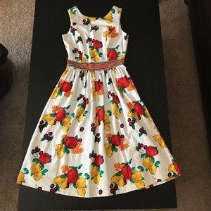 Floral Fruit Tropical Midi Flare Dress